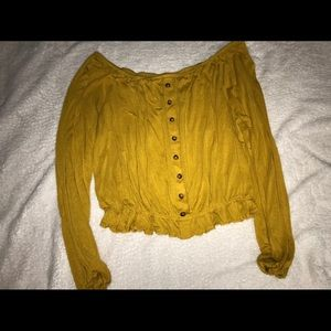 H&M yellow off the shoulder shirt